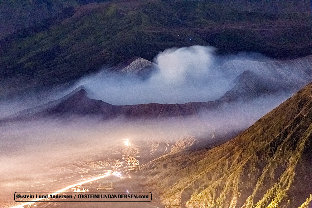 Bromo emits gas that flows over into the Tengger Caldera.