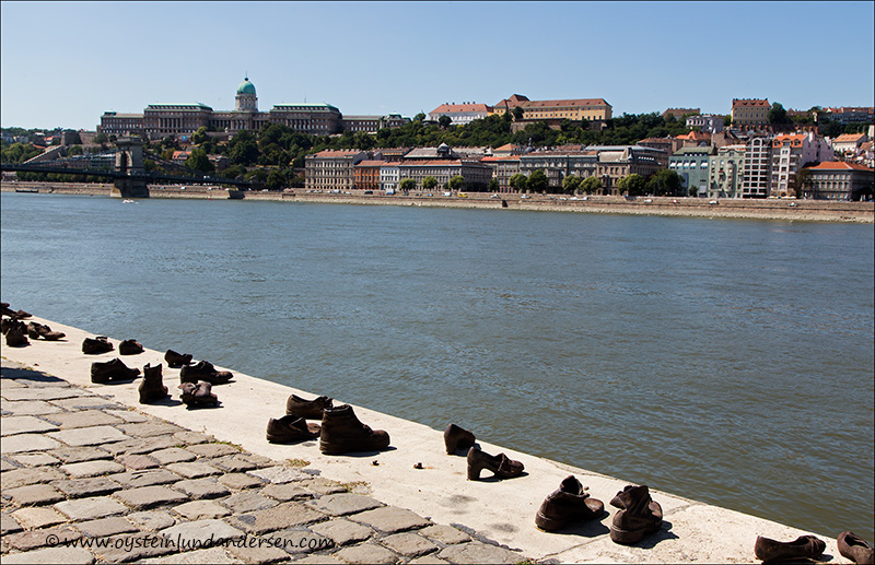 6. Jewish WWII memorial shoes on river bank.