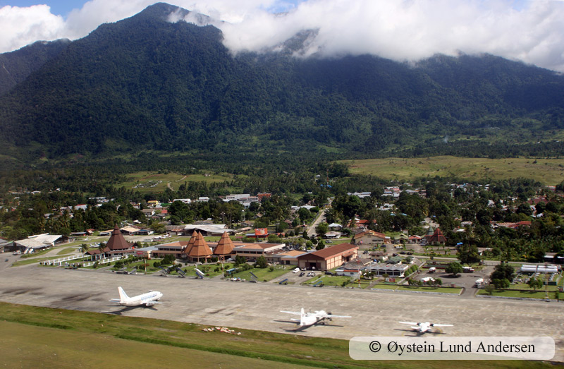 Sentani airport, with the Cyclops mountains roaming behind.