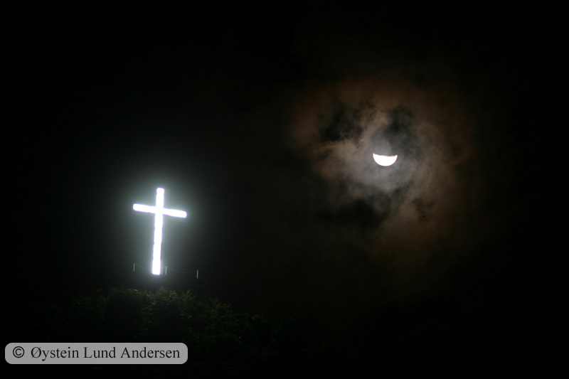 One of the many crosses that light up the Jayapura nightsky.