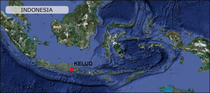 Kelud Volcano Indonesia MAp
