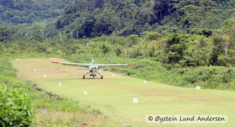 Cessna from MAF missionary aviation landing in Nongme.