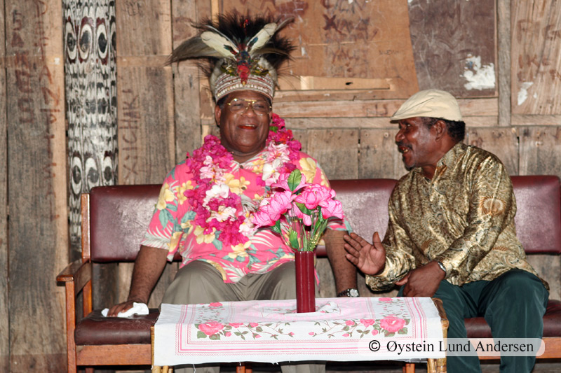 Bas Suebo (left) the current (2011) Governor of Papua and the Babrongko village chief (right) in 2006.