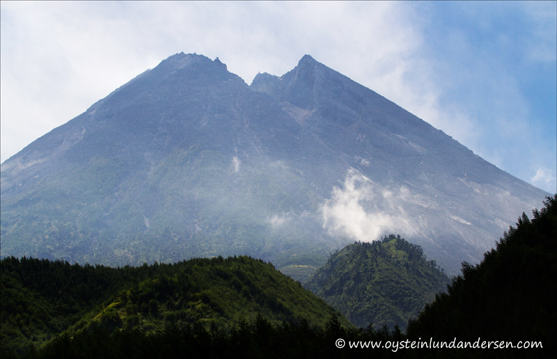 Merapi from the south and the northern face of the crater, where the pyroclastic flows have travelled during the last eruptions.