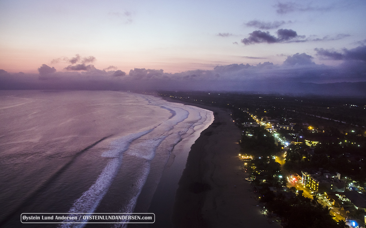 Aerial view of Pangandaran in the evening, looking West