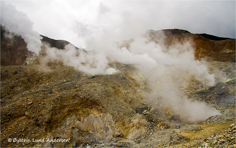 Heavy steaming from fumarolic activity at the kawah mas crater, and the kawah baru crater behind.