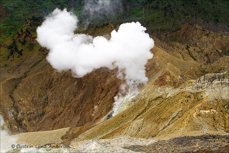 Kawah baru crater emitting 100m tall steam plume, extending in the next photo.