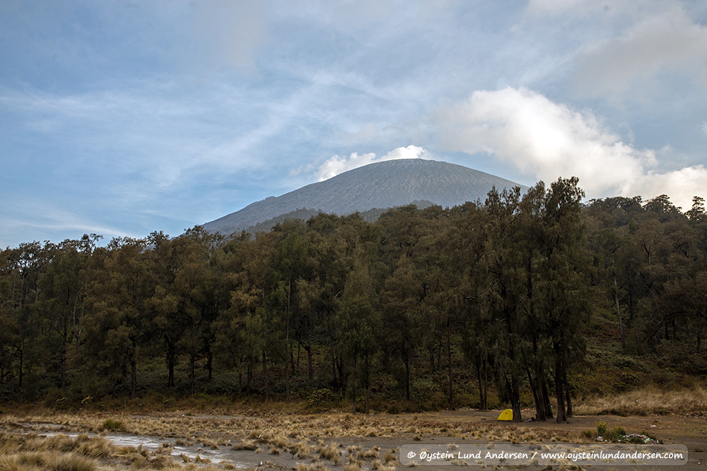 Peak of Semeru seen from Kali-mati (basecamp)