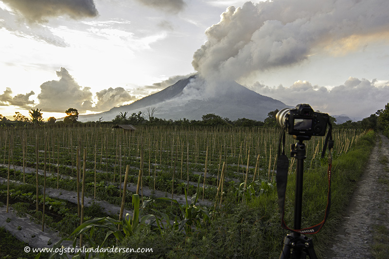 1.  Setup in a field SSW of Sinabung. (11th January - 18:49 local time)