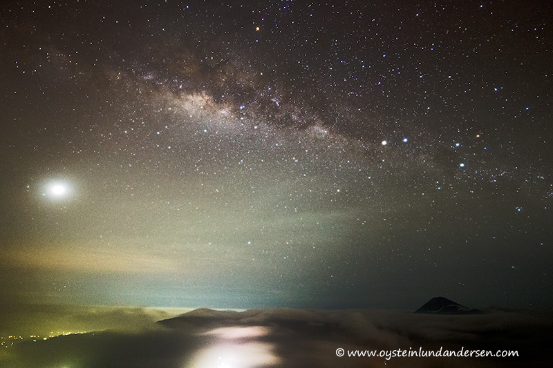 Semeru under (right bottom) under the milky way. (9th March - 03.50 local time)