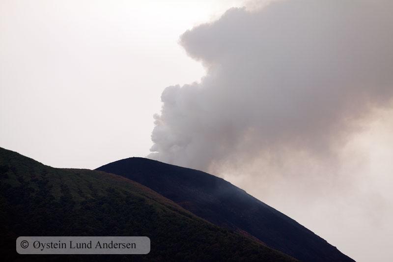 Mount Gamalama steaming.