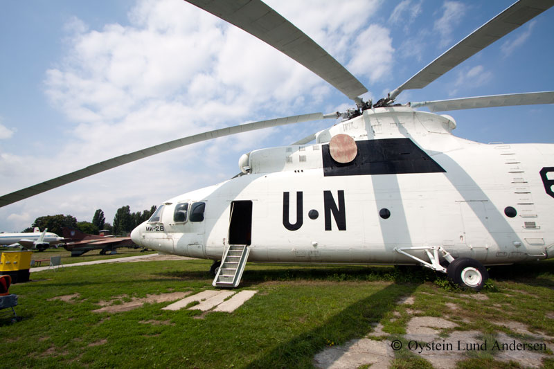 United Nations Mi-26. Itis a Soviet/Russian heavy transport helicopter. The Mi-26 is the largest and most powerful helicopter ever to have gone into production.
