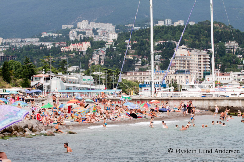 Small beach in downtown Yalta.