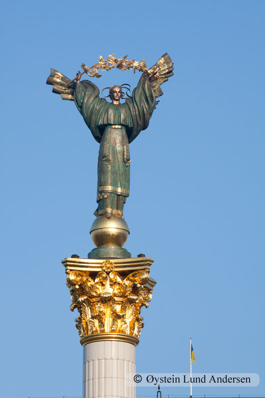 Monument at the coloumn over the Independence square in Kiev.