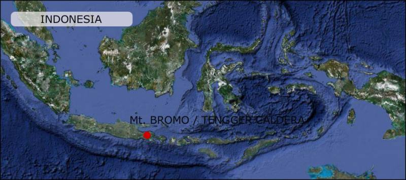 Bromo Tengger volcano Map East-java Indonesia