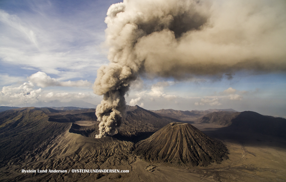 Bromo Eruption 2015 Aerial Indonesia Java ash-plume