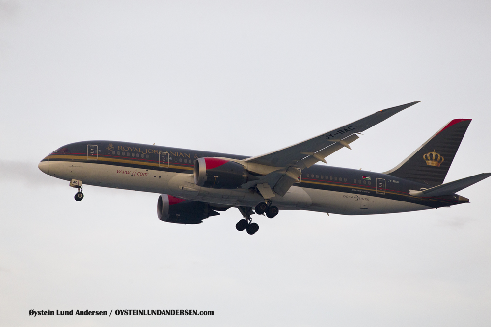 Royal Jordanian Boeing 787-800 , named `Princess Salma Bint Abdullah`,arriving from Kuala Lumpur (JY-BAC) (15th February 2016)
