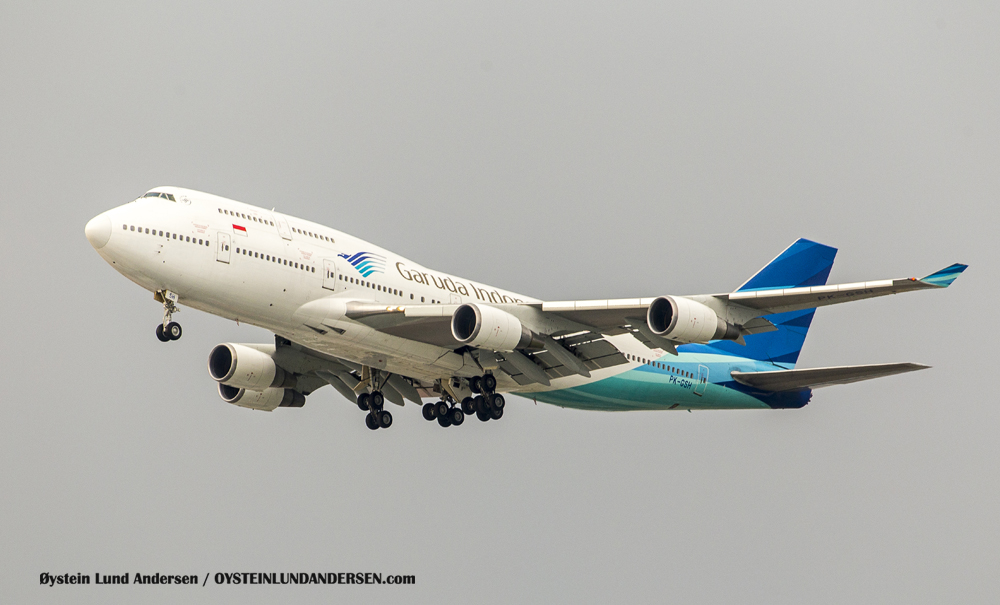 Garuda Boeing-747-400 arriving from Jeddah, Saudi Arabia. (PK-GSH) (19th January 2016)