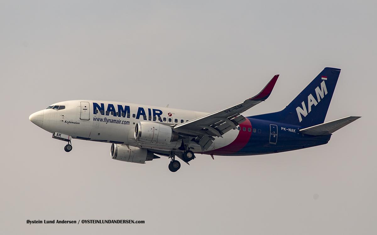 "Nam Air Boeing 737-500 named ""Kedamaian"" (Peace) (PK-NAK)"