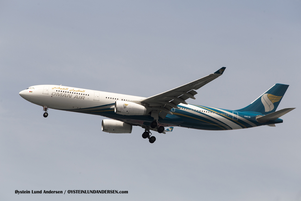 Oman Air - Airbus 330-300 arriving from Muscat, Oman. (23 December 2015)