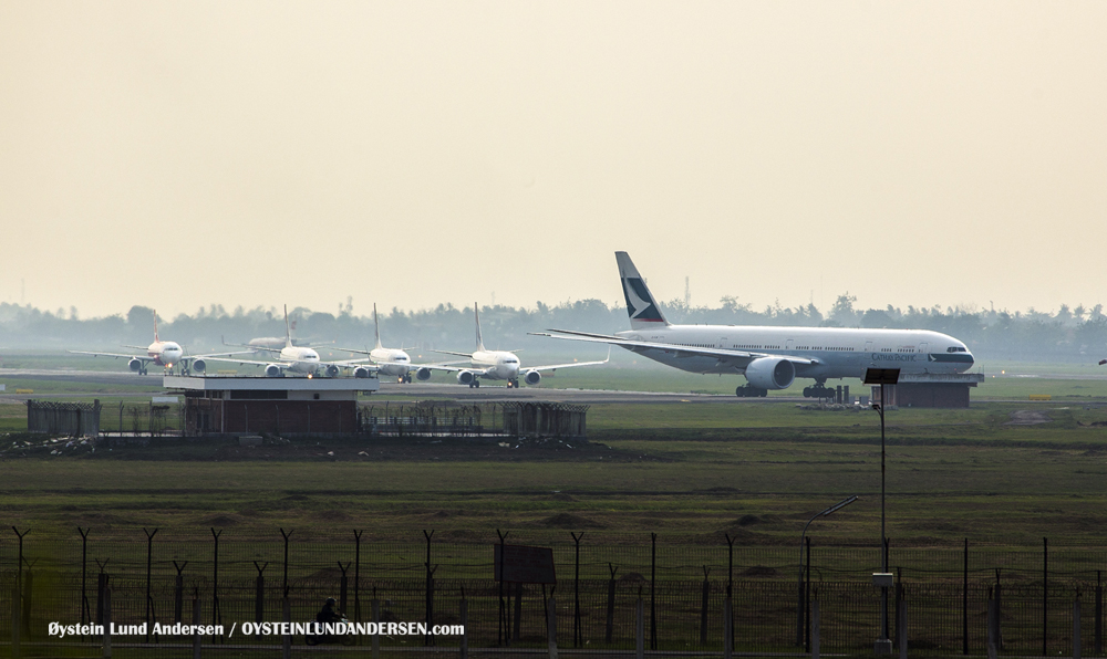 Cathay Pacific lining up for takeoff at Soekarno-Hatta (5th december 2015)