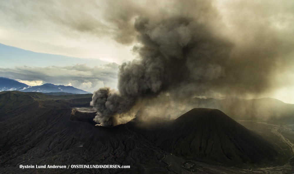 aerial Bromo Volcano Eruption 2016 February 2016 Indonesia