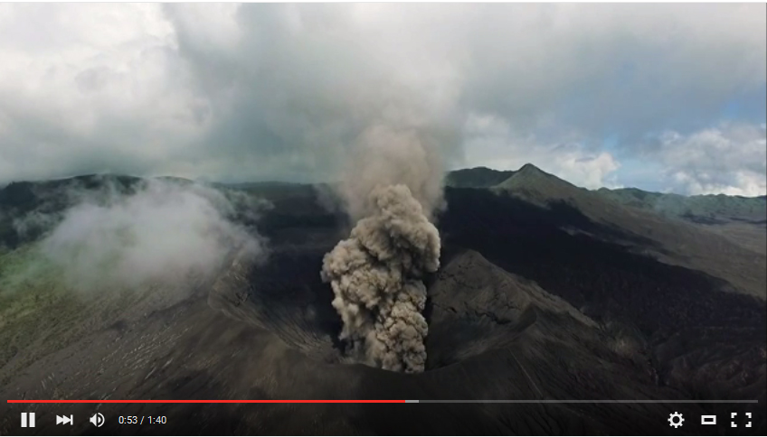 Video aerial Bromo Tengger Indonesia Eruption Volcano April 2016