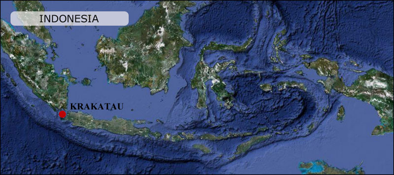 Krakatau Krakatoa Java Indonesia Map Peta