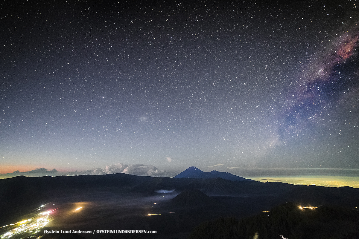 Night Stars milky Way Aerial Phantom Bromo Eruption 2016 Tengger Indonesia Eruption Volcano June 2016