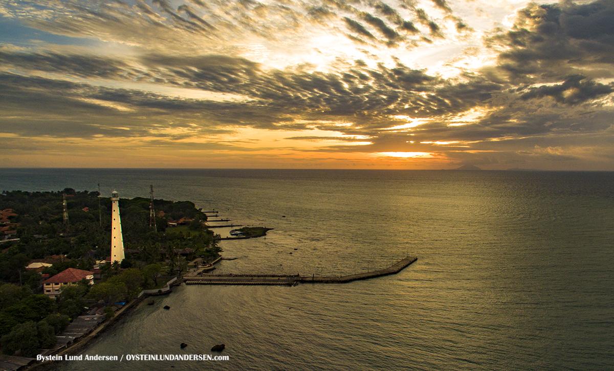 Anyer Lighthouse Krakatau Rakata Krakatoa 2016 Sunda Strait Java Sumatra Indonesia Drone DJI Aerial