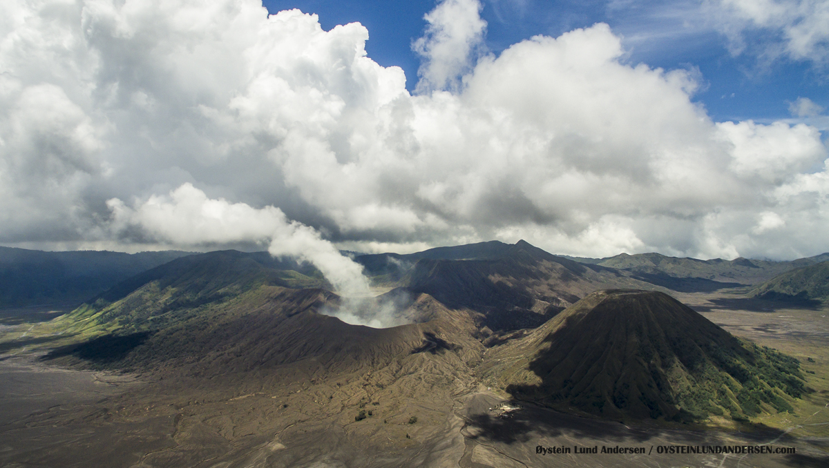 Aerial Drone Bromo Tengger Volcano Indonesia Eruption September-2016