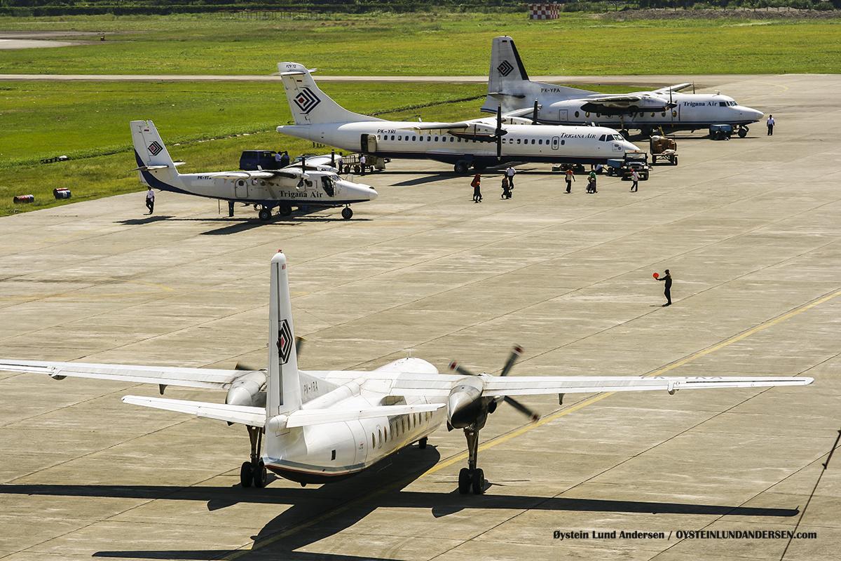 Trigana Fokker-27-500 (PK-YRA) , DHC-6, ATR72 (PK-YRI) and a Fokker 27-200 (PK-YPA) sentani airport jayapura djj spotting