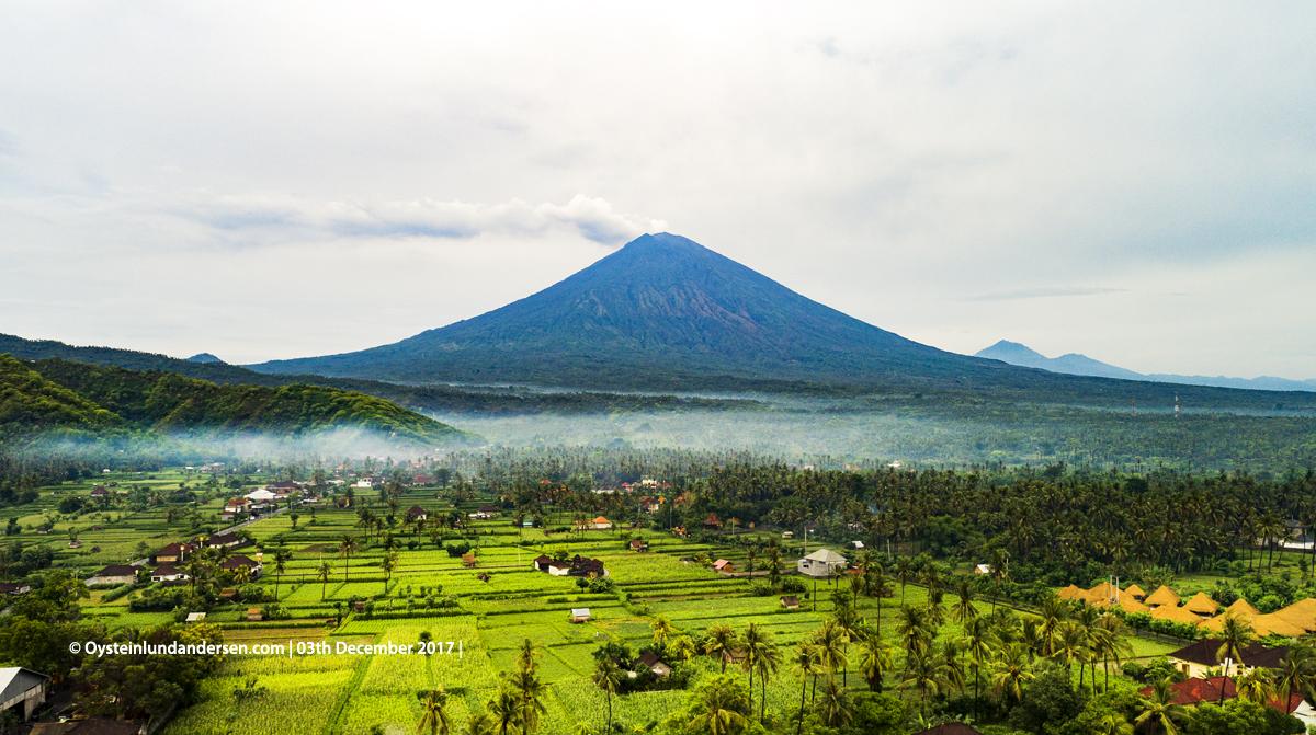 Aerial DJI Agung volcano Bali Indonesia December 2017