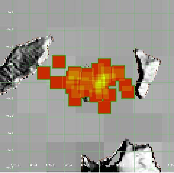 Modis Krakatau hotspot Volcano 2018 july