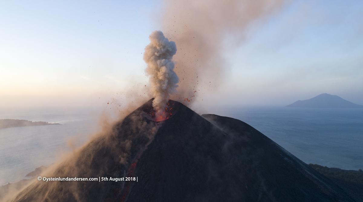 Krakatau volcano Drone Eruption 2018 aerial Krakatau