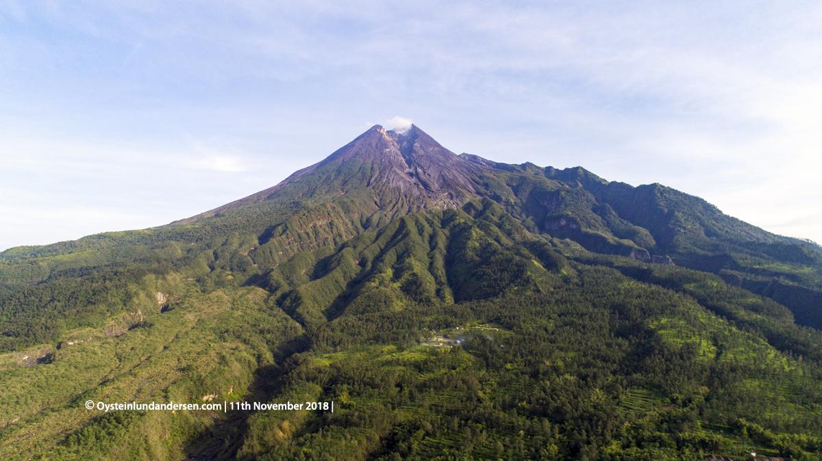 aerial drone Merapi Volcano Java 2018 November lava-dome