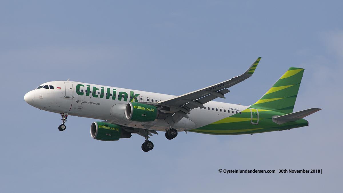 Citilink Airbus 320-200 (PK-GQI) Jakarta airport Indonesia CGK