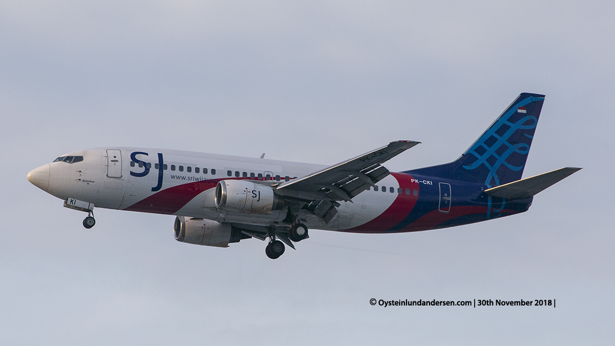 Sriwijaya Air Boeing 737-300 PK-CKI Named kebaikan Jakarta airport Indonesia CGK