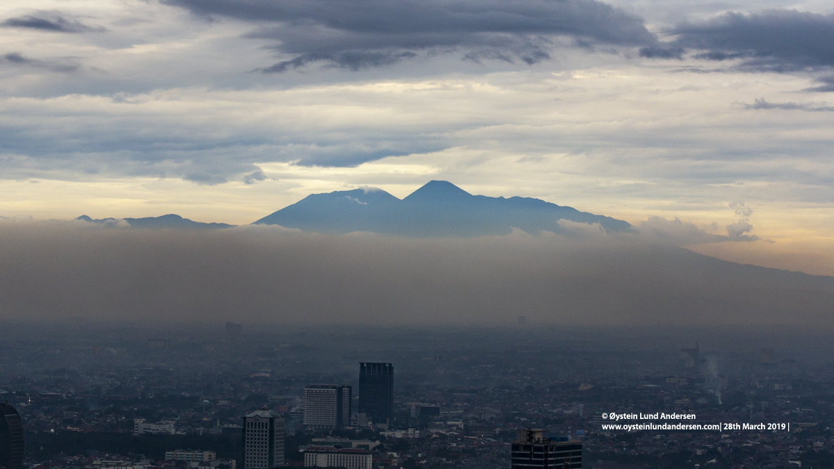 Jakarta sunset Gede-prangrango volcano java indonesia
