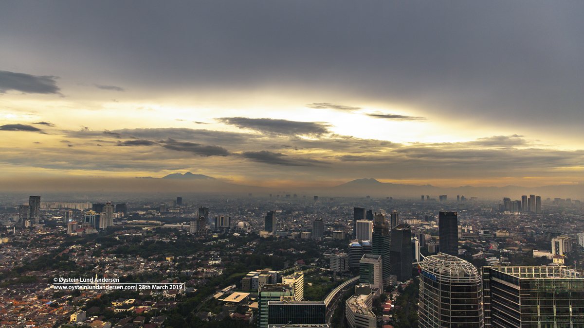 Jakarta sunset Gede-prangrango volcano salak volcano java indonesia