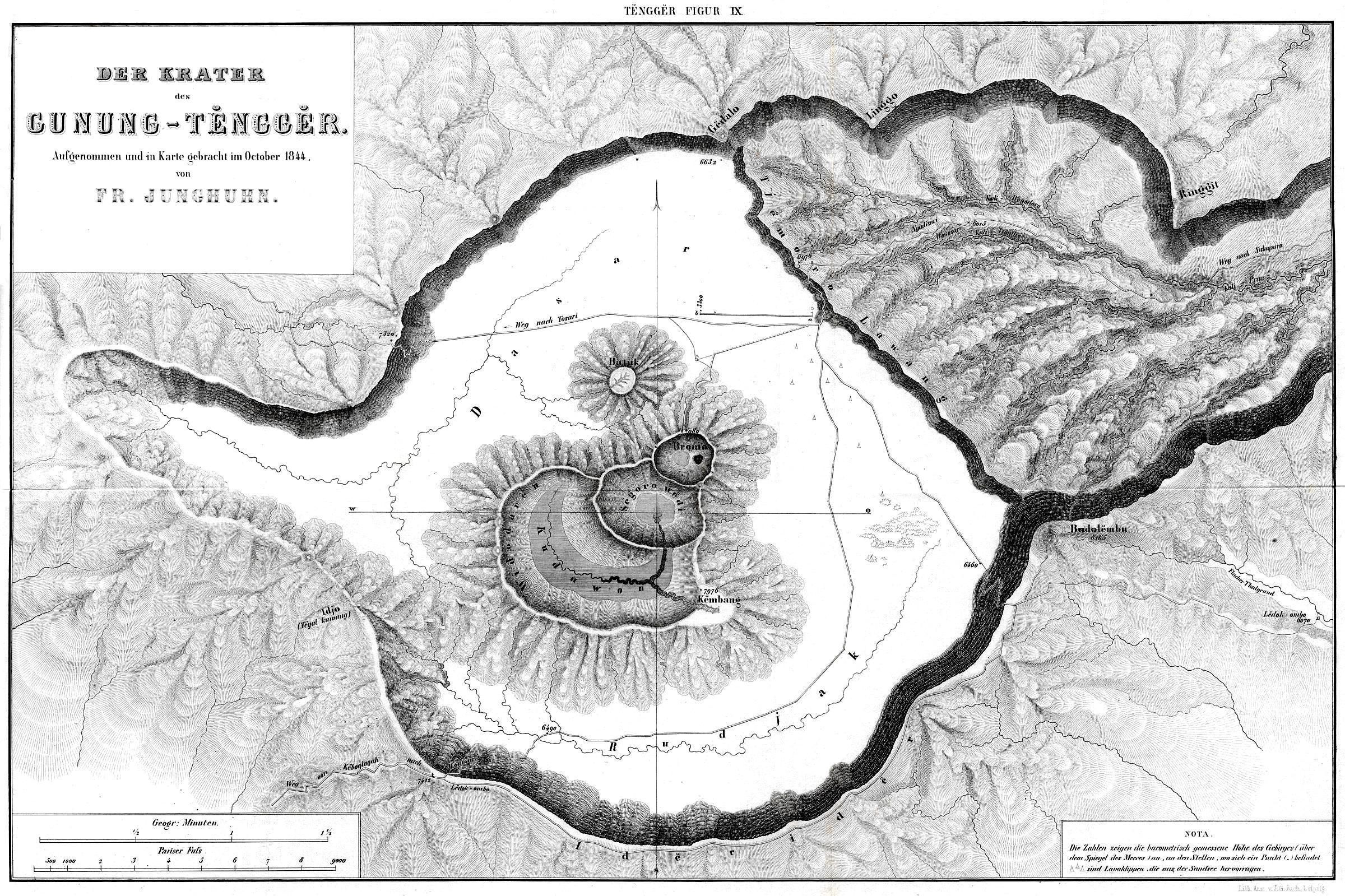 Caldera Tengger map Junghuhn