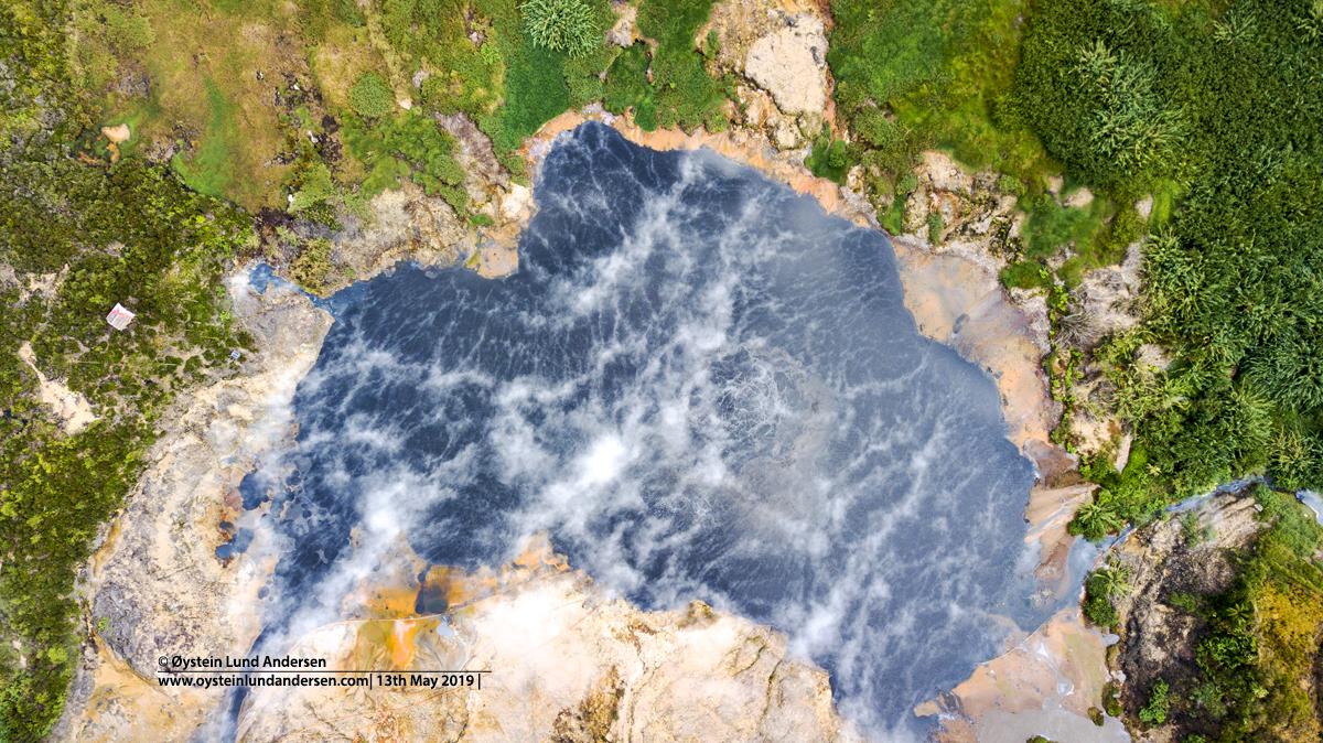 Kawah Sileri crater Dieng volcano Indonesia 2019 aerial