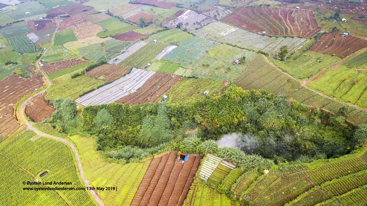 Timbang crater Batur Depression Dieng Aerial 2019