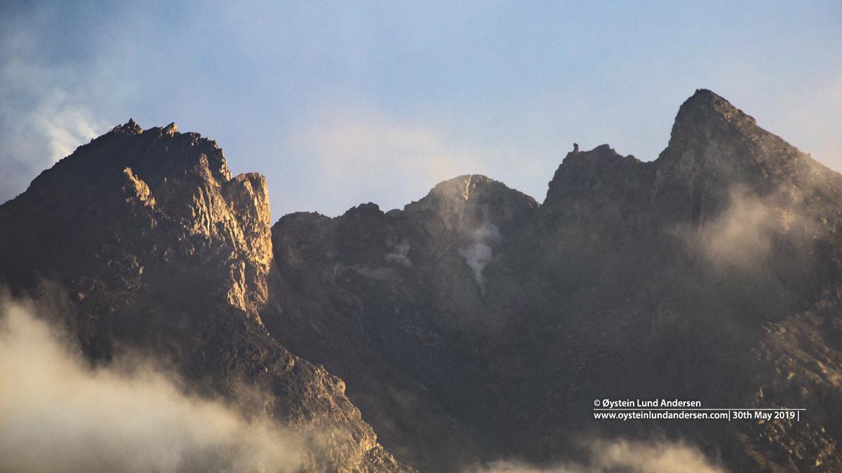 Merapi rockfall lava dome drone 2019 aerial Indonesia