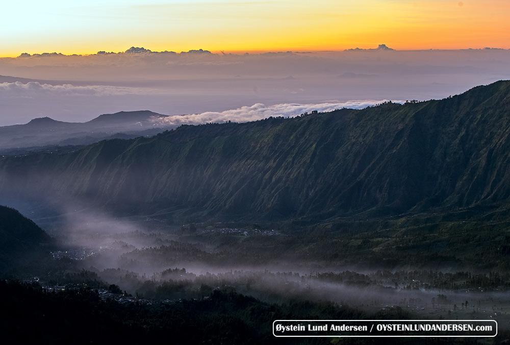 A river of gas pouring down from the Tengger Caldera, originating from Bromo.
