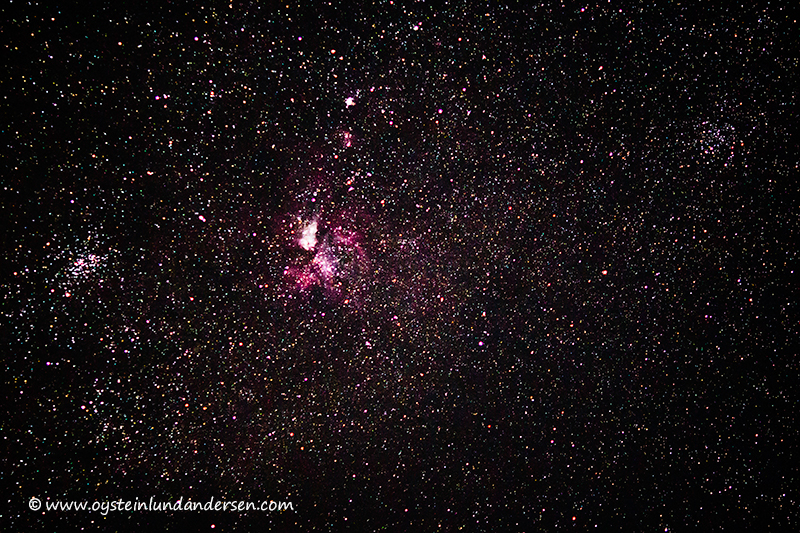 The Eagle Nebula (Messier 16) photographed at night from the Tengger Caldera. It is a young open cluster of stars in the constellation Serpens. This region of active current star formation is about 7000 light-years distant. The single tower of gas that can be seen coming off the nebula is approximately 9.5 light-years or about 90 trillion kilometers long.