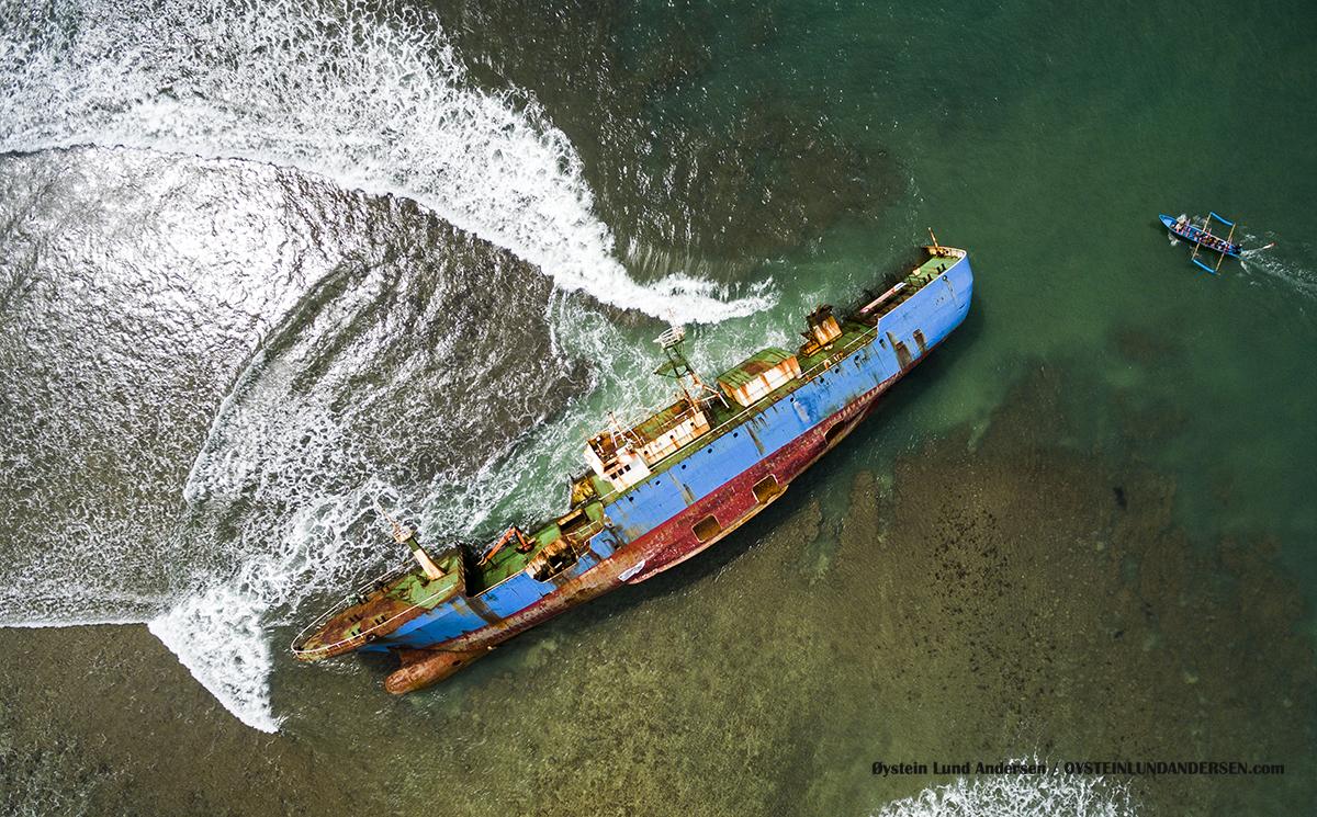 Pangandaran 2017 MV Viking ship capsized beach Indonesia DJI aerial