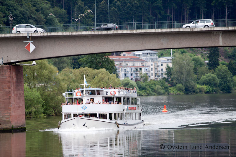 Shuttle boat that arrives Heidelberg from another town in the region.