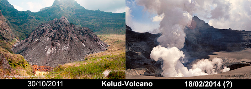 Kelud volcano comparison 2011 2014 lava dome eruption