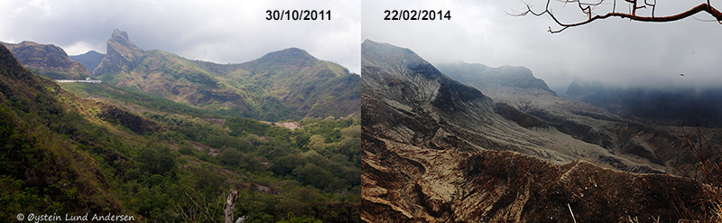 18. Comparison of the western-flank, photo of 2011 vs february 2014. The vegetation has been destroyed due to the brutal forces of the 14th February eruption. Most of the trees has collapsed and the parking- and recreation area seen on the top left of the 2011 photo is gone. Download larger resolution photo: here